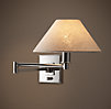 Petite Candlestick Swing-Arm Sconce Polished Nickel with Linen Shade