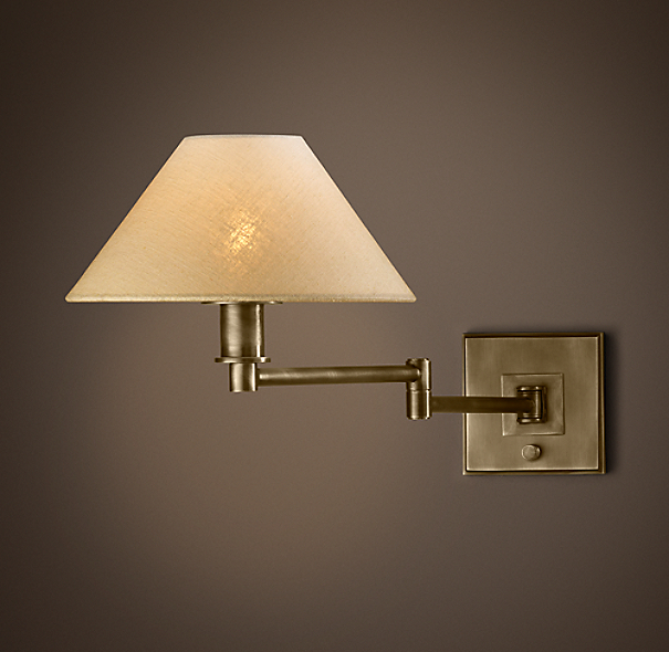 Petite Candlestick Swing-Arm Sconce Vintage Brass with Linen Shade
