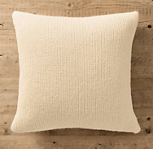 Italian Wool & Alpaca Ribbed Knit Pillow Cover Ivory
