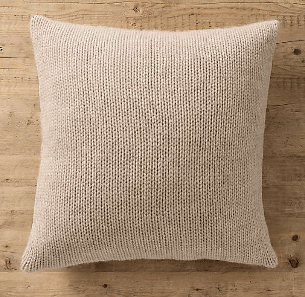 Italian Wool & Alpaca Ribbed Knit Pillow Cover  - Oatmeal