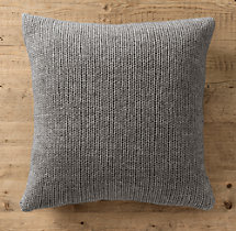 Italian Wool & Alpaca Ribbed Knit Pillow Cover Grey