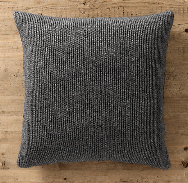 Italian Wool & Alpaca Ribbed Knit Pillow Cover Charcoal