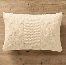 Italian Wool & Alpaca Cable Knit Lumbar Pillow Cover Ivory