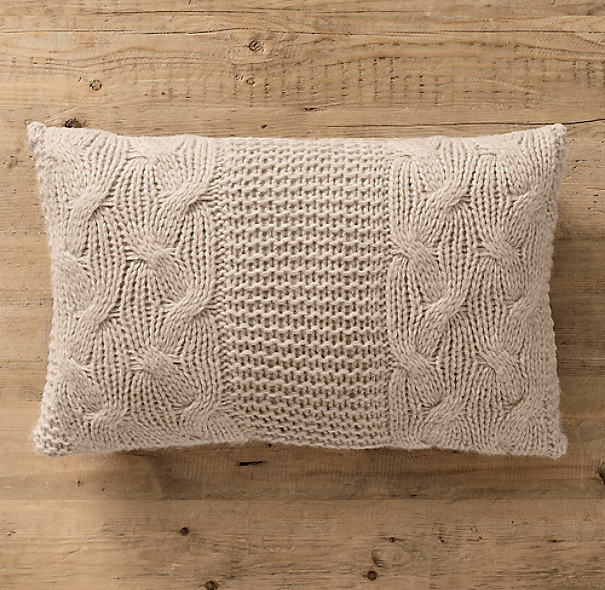Italian Wool & Alpaca Cable Knit Lumbar Pillow Cover - Oatmeal