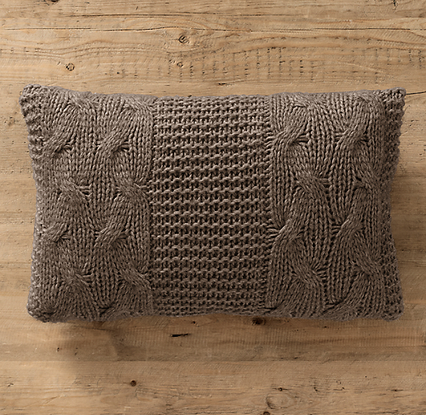 Italian Wool & Alpaca Cable Knit Lumbar Pillow Cover Mocha
