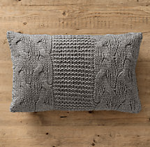 Italian Wool & Alpaca Cable Knit Lumbar Pillow Cover Grey
