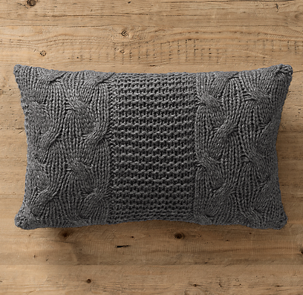 Italian Wool & Alpaca Cable Knit Lumbar Pillow Cover Charcoal