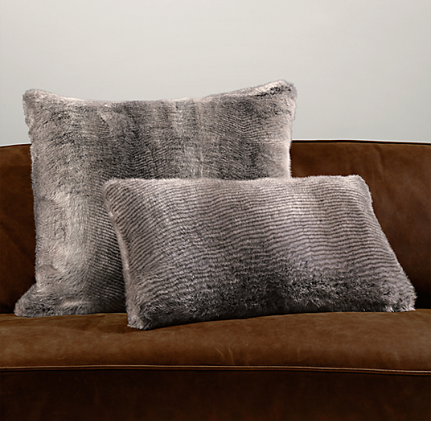 Luxe Faux Fur Pillow Covers - Chinchilla