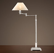Petite Candlestick Swing-Arm Table Lamp Polished Nickel with Linen Shade