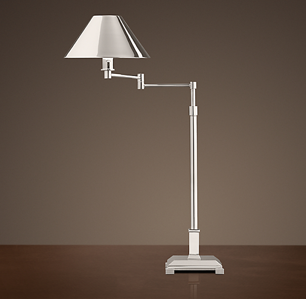 Petite Candlestick Swing-Arm Table Lamp Polished Nickel with Metal Shade