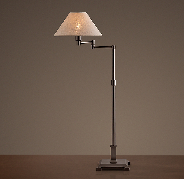 Petite Candlestick Swing-Arm Table Lamp Bronze with Linen Shade