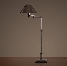Petite Candlestick Swing-Arm Table Lamp Bronze with Metal Shade
