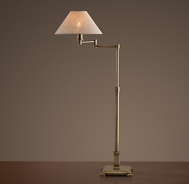Petite Candlestick Swing-Arm Table Lamp Vintage Brass with Linen Shade