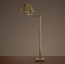 Petite Candlestick Swing-Arm Table Lamp Vintage Brass with Metal Shade