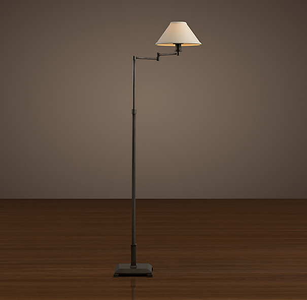 Petite Candlestick Swing-Arm Floor Lamp Aged Steel with Linen Shade