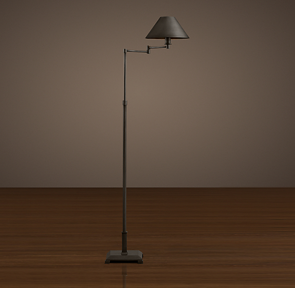 Petite Candlestick Swing-Arm Floor Lamp Aged Steel with Metal Shade