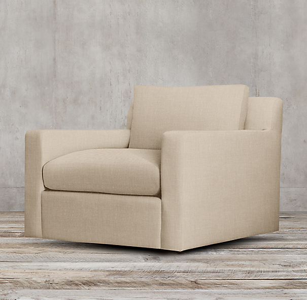 Belgian Track Arm Upholstered Swivel Chair
