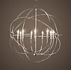 Foucault's Iron Orb Chandelier Polished Nickel Large