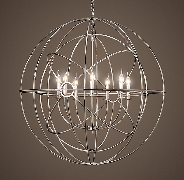 Foucault's Twin-Orb Iron Chandelier Polished Nickel