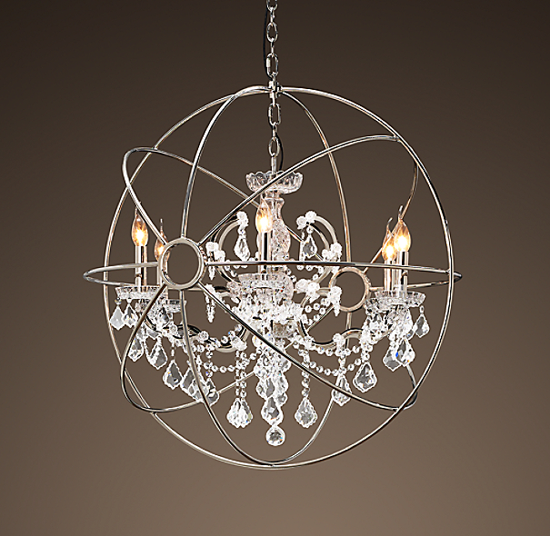 Foucault's Orb Crystal Chandelier Polished Nickel Medium