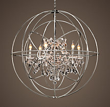 Foucault's Twin-Orb Crystal Chandelier Polished Nickel