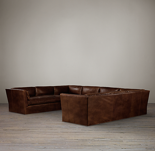 Belgian Shelter Arm Leather U-Sofa Sectional