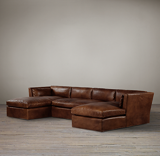 Belgian Shelter Arm Leather U-Chaise Sectional