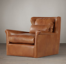 Belgian Wingback Leather Swivel Chair