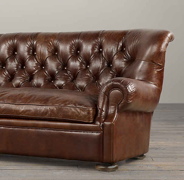 7' Churchill Leather Sofa without Nailheads