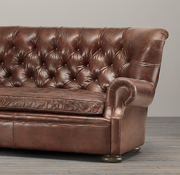 8' Churchill Leather Sofa without Nailheads