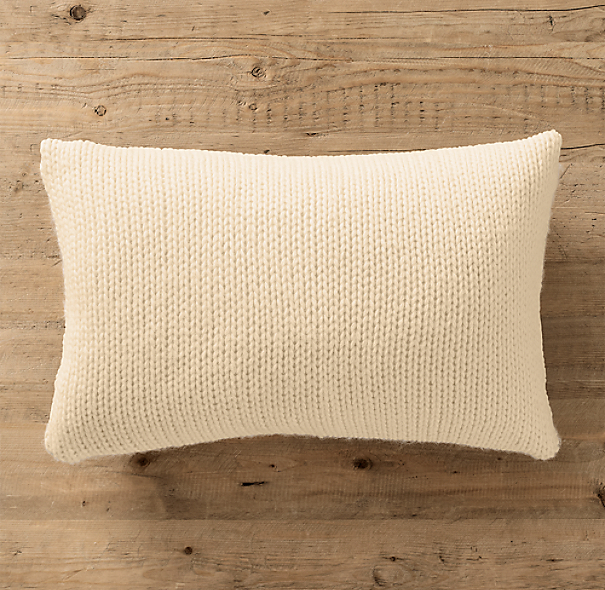 Italian Wool & Alpaca Ribbed Knit Lumbar Pillow Cover Ivory