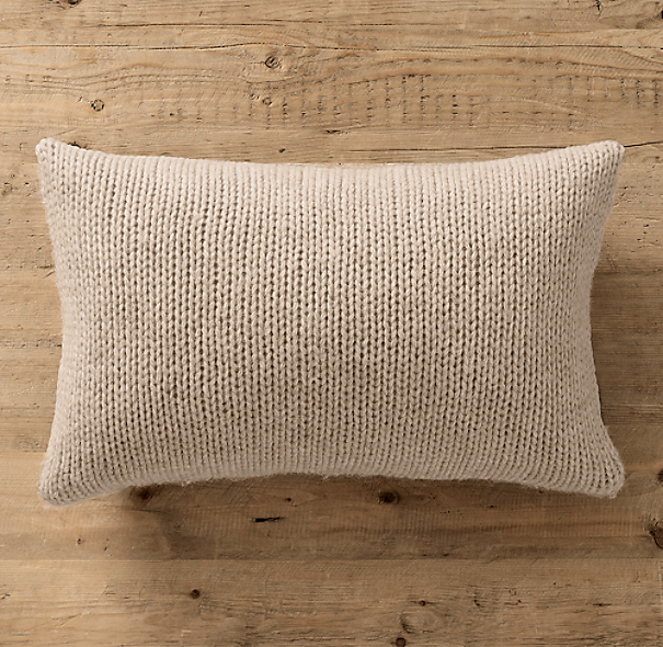 Italian Wool & Alpaca Ribbed Knit Lumbar Pillow Cover - Oatmeal
