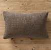 Italian Wool & Alpaca Ribbed Knit Lumbar Pillow Cover Mocha