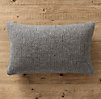 Italian Wool & Alpaca Ribbed Knit Lumbar Pillow Cover Grey