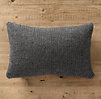 Italian Wool & Alpaca Ribbed Knit Lumbar Pillow Cover Charcoal