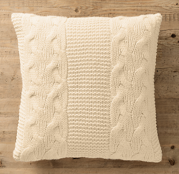 Italian Wool & Alpaca Cable Knit Pillow Cover Ivory