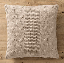 Italian Wool & Alpaca Cable Knit Pillow Cover - Oatmeal