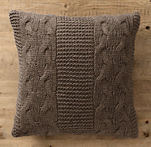 Italian Wool & Alpaca Cable Knit Pillow Cover Mocha