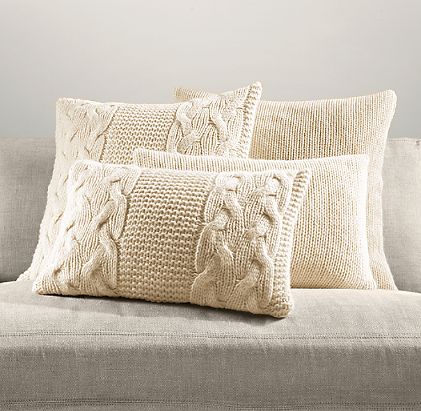 Italian Wool & Alpaca Knit Pillow Cover Collection - Ivory