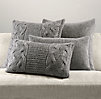 Italian Wool & Alpaca Knit Pillow Cover Collection - Grey