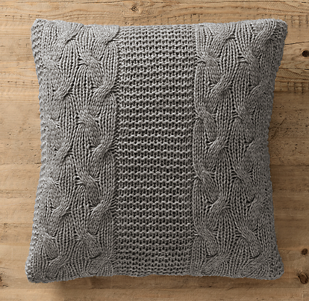 Italian Wool & Alpaca Cable Knit Pillow Cover Grey
