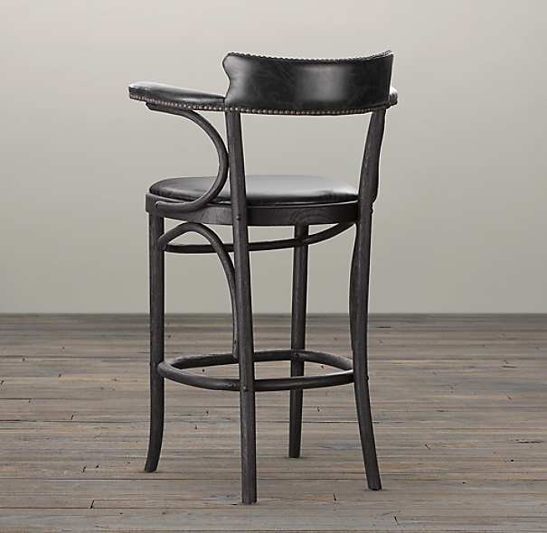 Vienna Cafe Counter Stool Slate Leather
