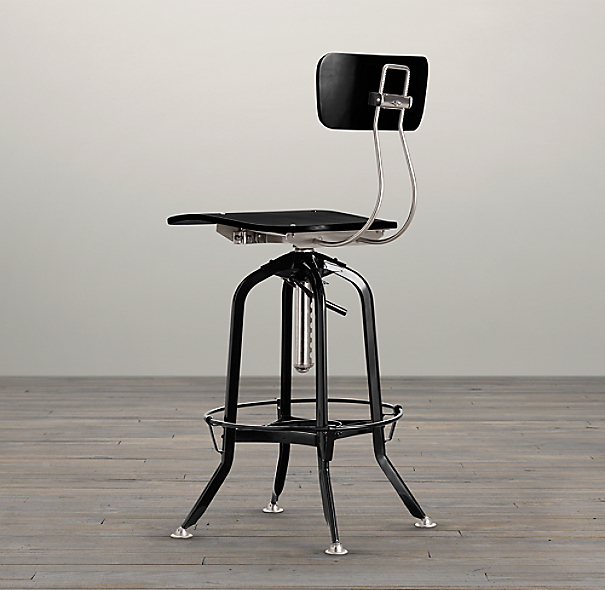 Vintage Toledo Bar Chair Black Enamel