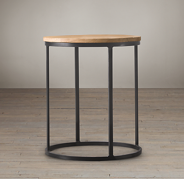 Watts Reclaimed Oak Round Side Tables