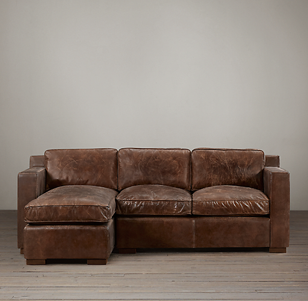 Collins Leather Left-Arm Sofa Chaise Sectional