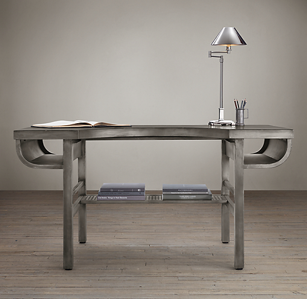 French Factory Metal Desks Gun Metal