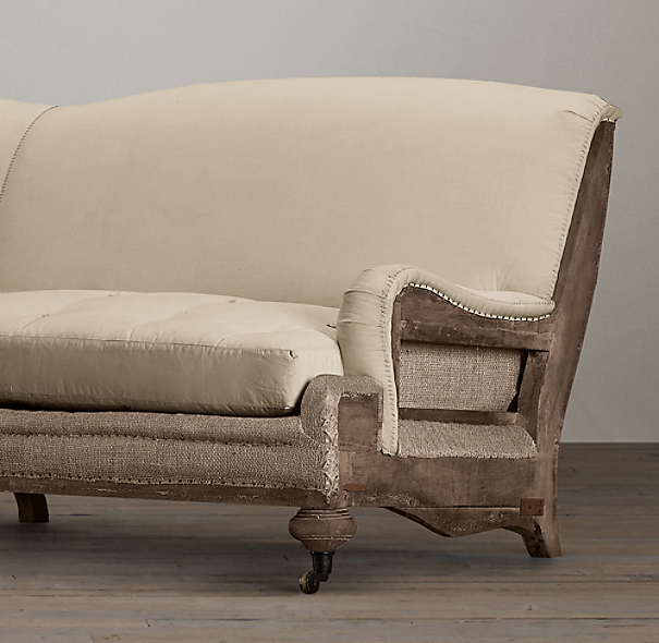 Deconstructed English Roll Arm Sofa Antiqued Linen