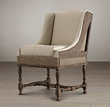 Deconstructed Slope Arm Dining Chair Antiqued Linen