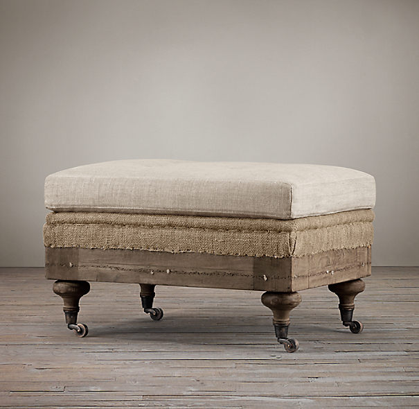 Deconstructed English Roll Arm Ottoman