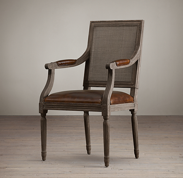 Vintage French Square Cane Back Leather Armchair